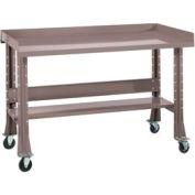 "Shureshop® Mobile Automotive Workbench - Maple Butcher Block - 60""W x 30""D - Pewter Grey"