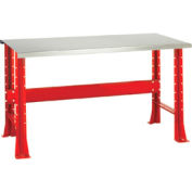 "Shureshop® bench-stationary, stainless steel top, 72"" x 29""-Carmine Red"
