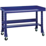 "Shureshop® Mobile Automotive Workbench - Stainless Steel - 72""W x 29""D - St. Louis Blue"