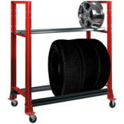 "2 Tier Tire Cart- 54-3/4""W x 25-5/8""D x 62""H-Carmine Red"
