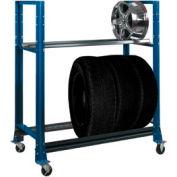 """2 Tier Tire Cart- 54-3/4""""W x 25-5/8""""D x 62""""H-Monaco , Blue"""