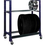 "2 Tier Tire Cart- 54-3/4""W x 25-5/8""D x 62""H-St.Louis , Blue"