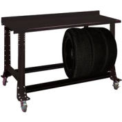 "Tire Cart w/ Painted Steel Bench Top 54-1/2""W x 25-5/8""D x41""H-Gloss Black"