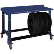 "Tire Cart w/ Painted Steel Bench Top 54-1/2""W x 25-5/8""D x41""H-St.Louis Blue"