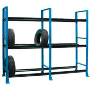 "Tire Rack-2 sect./3 tiers, stationary, 120""W x 25-5/8""D x 96-3/4""H-Monaco Blue"