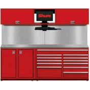 "Shuretech Bench System w/ 2 Doors & 9 Drawers, 96""W x 29""D x 80""H, Red"
