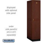Salsbury Solid Oak Executive Wood Locker 11164 - Single Tier 1 Wide, 16x24x72, 1 Door, Dark Oak