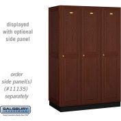 Salsbury Solid Oak Executive Wood Locker 11361 - Single Tier 3 Wide, 16x21x72, 3 Door, Dark Oak