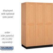 Salsbury Solid Oak Executive Wood Locker 11361 - Single Tier 3 Wide, 16x21x72, 3 Door, Light Oak