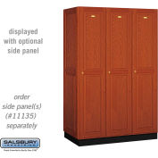Salsbury Solid Oak Executive Wood Locker 11361 - Single Tier 3 Wide, 16x21x72, 3 Door, Medium Oak