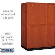 Salsbury Solid Oak Executive Wood Locker 11364 - Single Tier 3 Wide, 16x24x72, 3 Door, Medium Oak
