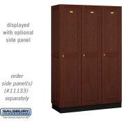 Salsbury Solid Oak Executive Wood Locker 11368 - Single Tier 3 Wide, 16x18x72, 3 Door, Dark Oak