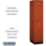 Salsbury Solid Oak Executive Wood Locker 12161 - Double Tier 1 Wide, 16x21x36, 2 Door, Medium Oak