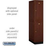 Salsbury Solid Oak Executive Wood Locker 12164 - Double Tier 1 Wide, 16x24x36, 2 Door, Dark Oak