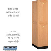 Salsbury Solid Oak Executive Wood Locker 12164 - Double Tier 1 Wide, 16x24x36, 2 Door, Light Oak
