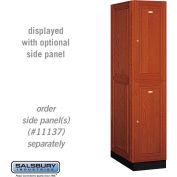 Salsbury Solid Oak Executive Wood Locker 12164 - Double Tier 1 Wide, 16x24x36, 2 Door, Medium Oak