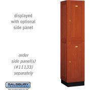 Salsbury Solid Oak Executive Wood Locker 12168 - Double Tier 1 Wide, 16x18x36, 2 Door, Medium Oak