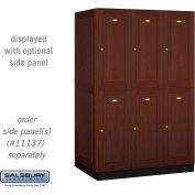 Salsbury Solid Oak Executive Wood Locker 12364 - Double Tier 3 Wide, 16x24x36, 6 Door, Dark Oak