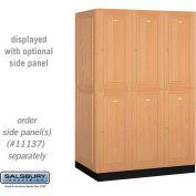 Solid Oak Executive Wood Locker 12364 - Double Tier 3 Wide, 16x24x36, 6 Door, Light Oak