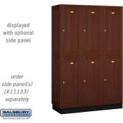 Salsbury Solid Oak Executive Wood Locker 12368 - Double Tier 3 Wide, 16x18x36, 6 Door, Dark Oak