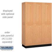 Salsbury Solid Oak Executive Wood Locker 12368 - Double Tier 3 Wide, 16x18x36, 6 Door, Light Oak