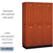 Salsbury Solid Oak Executive Wood Locker 12368 - Double Tier 3 Wide, 16x18x36, 6 Door, Medium Oak