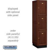 Salsbury Solid Oak Executive Wood Locker 13161 - Triple Tier 1 Wide, 16x21x24, 3 Door, Dark Oak
