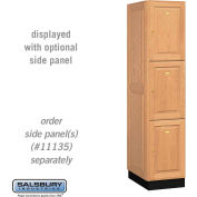 Salsbury Solid Oak Executive Wood Locker 13161 - Triple Tier 1 Wide, 16x21x24, 3 Door, Light Oak