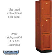 Salsbury Solid Oak Executive Wood Locker 13161 - Triple Tier 1 Wide, 16x21x24, 3 Door, Medium Oak