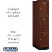Salsbury Solid Oak Executive Wood Locker 13164 - Triple Tier 1 Wide, 16x24x24, 3 Door, Dark Oak
