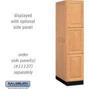 Salsbury Solid Oak Executive Wood Locker 13164 - Triple Tier 1 Wide, 16x24x24, 3 Door, Light Oak