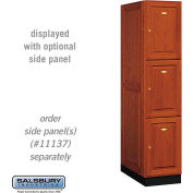 Salsbury Solid Oak Executive Wood Locker 13164 - Triple Tier 1 Wide, 16x24x24, 3 Door, Medium Oak