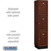 Salsbury Solid Oak Executive Wood Locker 13168 - Triple Tier 1 Wide, 16x18x24, 3 Door, Dark Oak