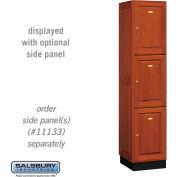 Salsbury Solid Oak Executive Wood Locker 13168 - Triple Tier 1 Wide, 16x18x24, 3 Door, Medium Oak