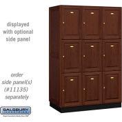 Salsbury Solid Oak Executive Wood Locker 13361 - Triple Tier 3 Wide, 16x21x24, 9 Door, Dark Oak