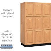 Salsbury Solid Oak Executive Wood Locker 13361 - Triple Tier 3 Wide, 16x21x24, 9 Door, Light Oak