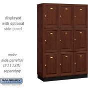 Salsbury Solid Oak Executive Wood Locker 13368 - Triple Tier 3 Wide, 16x18x24, 9 Door, Dark Oak