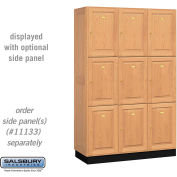 Salsbury Solid Oak Executive Wood Locker 13368 - Triple Tier 3 Wide, 16x18x24, 9 Door, Light Oak