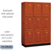 Salsbury Solid Oak Executive Wood Locker 13368 - Triple Tier 3 Wide, 16x18x24, 9 Door, Medium Oak