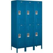 "Salsbury Extra Wide Metal Locker 18-52368 - Double Tier 3 Wide 18""W x 18""D x 36""H Blue - Assembled"
