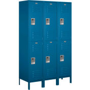 "Salsbury Extra Wide Metal Locker 18-52368 - Double Tier 3 Wide 18""W x 18""D x 36""H Blue - Unassembled"
