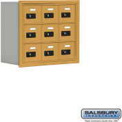 "Cell Phone Storage Locker, Recessed Mounted, 3 Door High, 8""D, Combo Locks, 9 A Doors, Gold"
