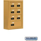 "Cell Phone Storage Locker, Surface Mounted, 4 Door High, 5""D, Combo Locks, 6A & 1 B Door, Gold"