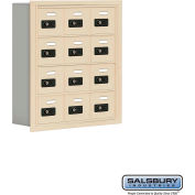 "Cell Phone Storage Locker, Recessed Mounted, 4 Door High, 5""D, Combo Locks, 12 A Doors, Sandstone"