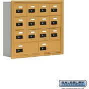 "Cell Phone Storage Locker, Recessed Mounted, 4 Door High, 5""D, Combo Locks, 12A & 2B Doors,Gold"