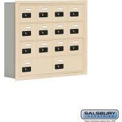"Cell Phone Storage Locker, Recessed Mounted, 4 Door High, 5""D, Combo Locks, 12A & 2B Doors,Sandstone"