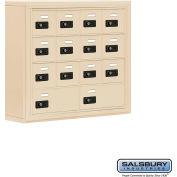 "Cell Phone Storage Locker, Surface Mounted, 4 Door High, 5""D, Combo Locks, 12A & 2B Doors,Sandstone"
