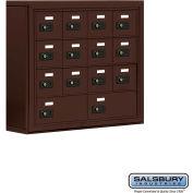 "Cell Phone Storage Locker, Surface Mounted, 4 Door High, 5""D, Combo Locks, 12A & 2B Doors,Bronze"