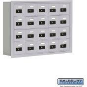 "Cell Phone Storage Locker, Recessed Mounted, 4 Door High, 5""D, Combo Locks, 20 A Doors, Aluminum"