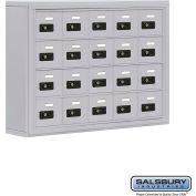 "Cell Phone Storage Locker, Surface Mounted, 4 Door High, 5""D, Combo Locks, 20 A Doors, Aluminum"